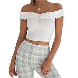 Tops - White Ruffle Off-the-Shoulder Crop Top
